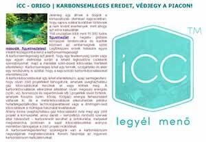 iCC - ORIGO | KARBONSEMLEGES EREDET, VÉDJEGY A PIACON!